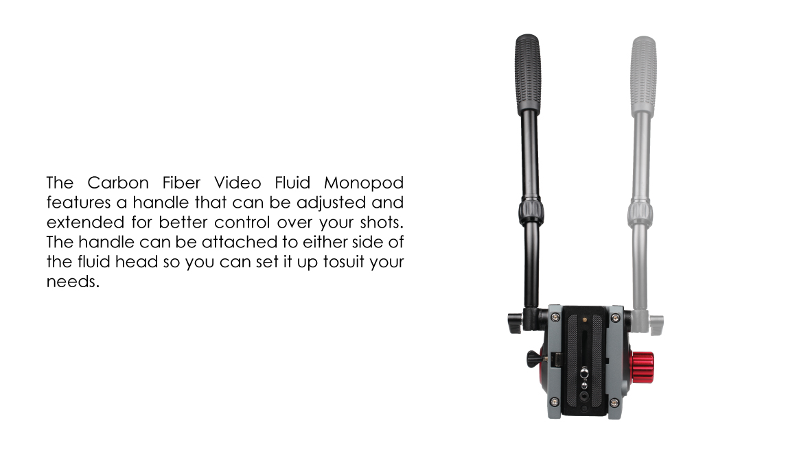 SCarbon Fiber Video Monopod Kit, with Fluid Head