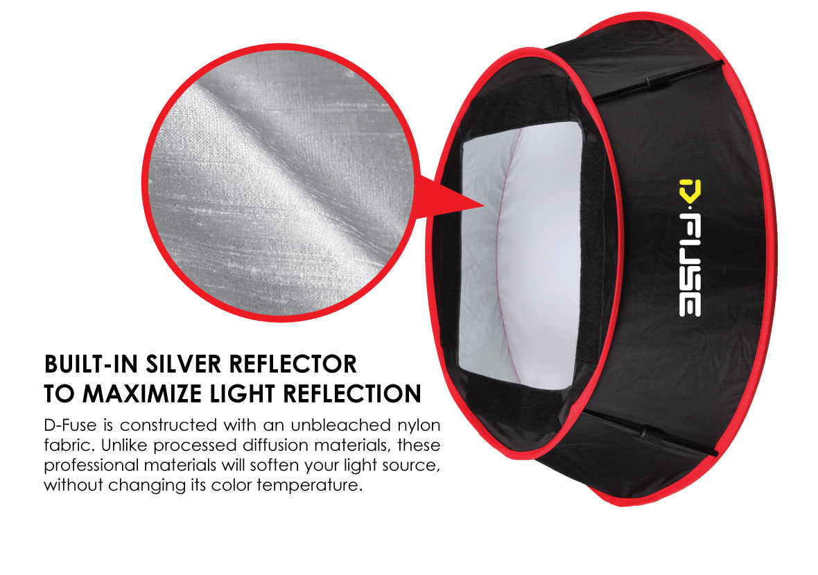 KAMERAR COLLAPSIBLE TRAPEZOID CYLINDER SOFTBOX: D-Fuse is constructed with an unbleached nylon fabric. Unlike processed diffusion materials, these professional materials will soften your light source, without changing its color temperature.