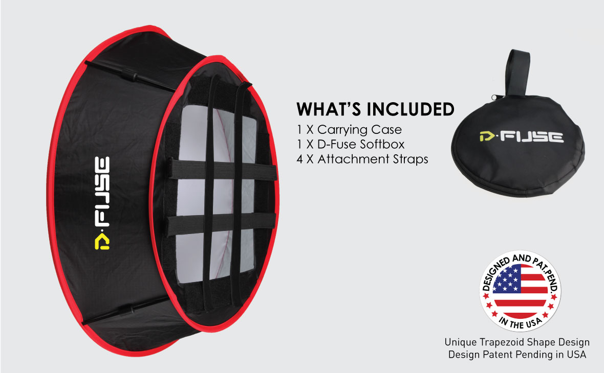 KAMERAR COLLAPSIBLE TRAPEZOID CYLINDER SOFTBOX: WHAT'S INCLUDED: 1 X Carrying Case 1 X D-Fuse Softbox 4 X Attachment Straps