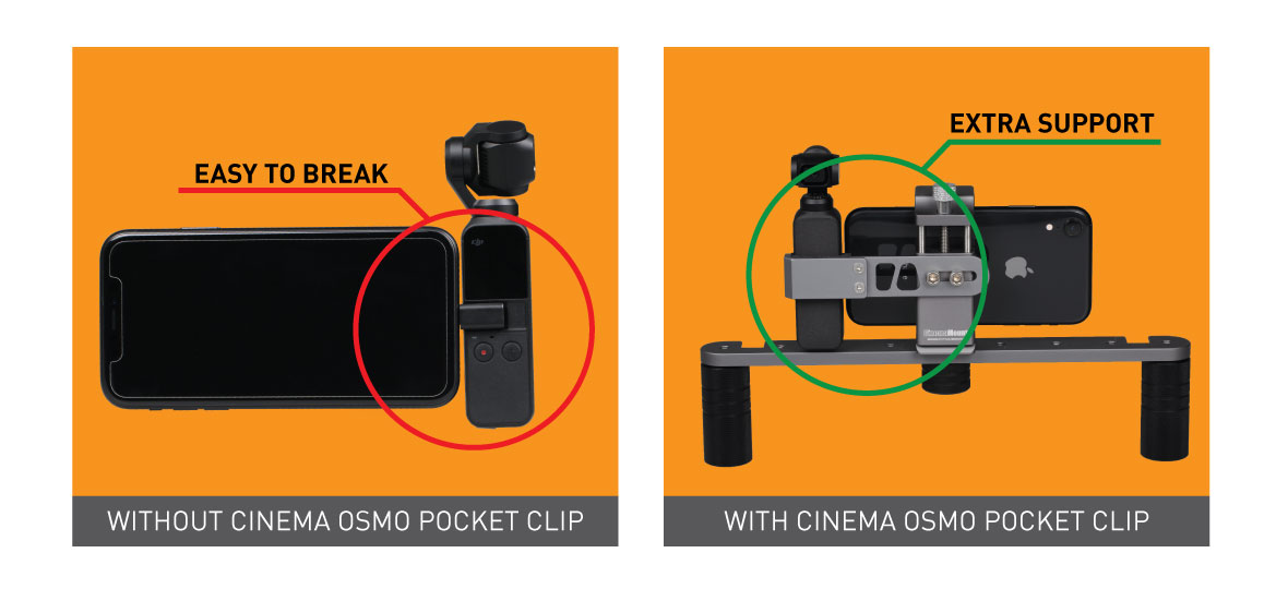 Ztylus Cinema Mount MKIII with Osmo Pocket Clip Kit: Video Stabilizer System for Smartphone and Camera, 3 Cold Shoe Mounts for Accessories, Standard Tripod Thread Mount, Smartphone Rig, Fit Arca Swiss, Solid Aluminum Alloy Grip