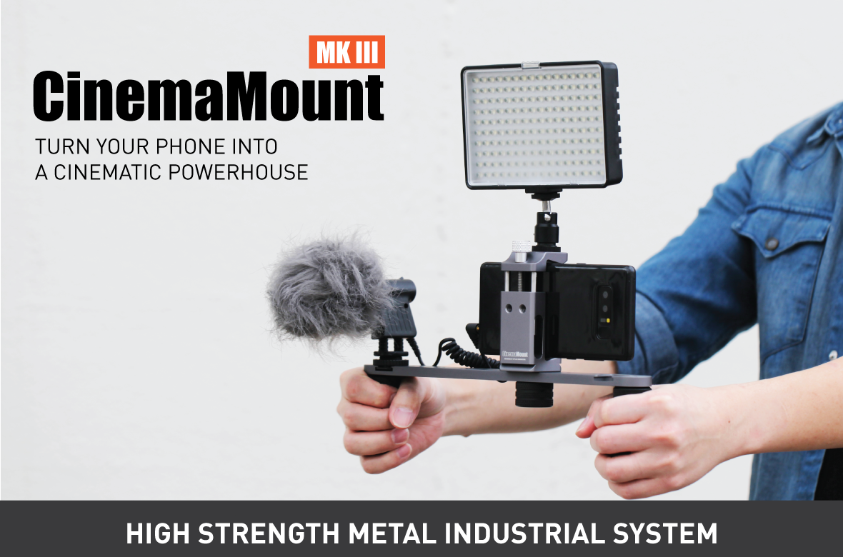 Cinema Mount MK 3, Video Stabilizer System for Smartphone and Camera, 3 Cold Shoe Mounts for Accessories, Standard Tripod Thread Mount, Smartphone Rig, Fit Arca Swiss, Solid Aluminum Alloy Grip