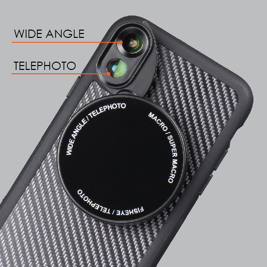 iPhone X Revolver M Series Lens Kit - Grey Wood Pattern