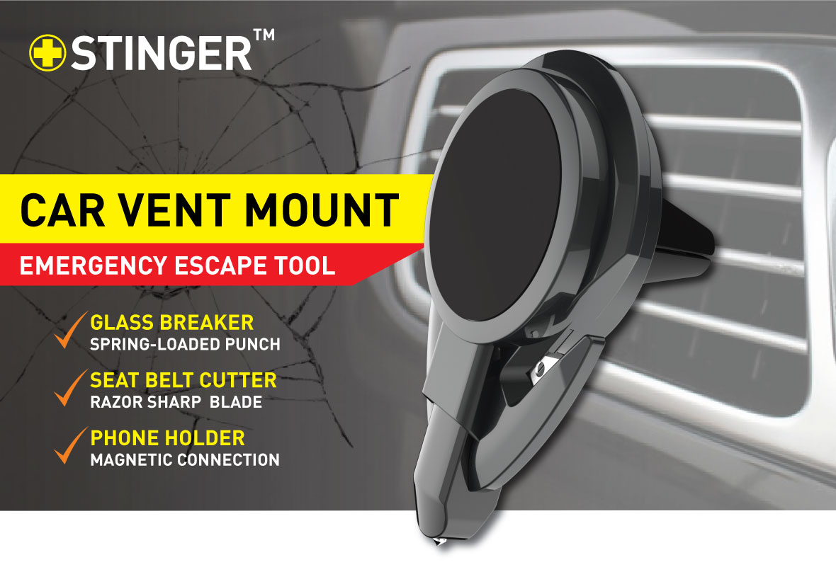 Stinger Car Vent Mount Phone Holder Emergency Tool Ztylus