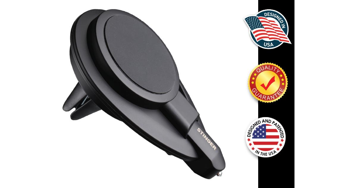 Stinger Vehicle Emergency Escape Tool: Magnetic Car Air Vent Mount Phone Holder, Spring Loaded Window Breaker Punch, Razor Sharp Seat belt Cutter