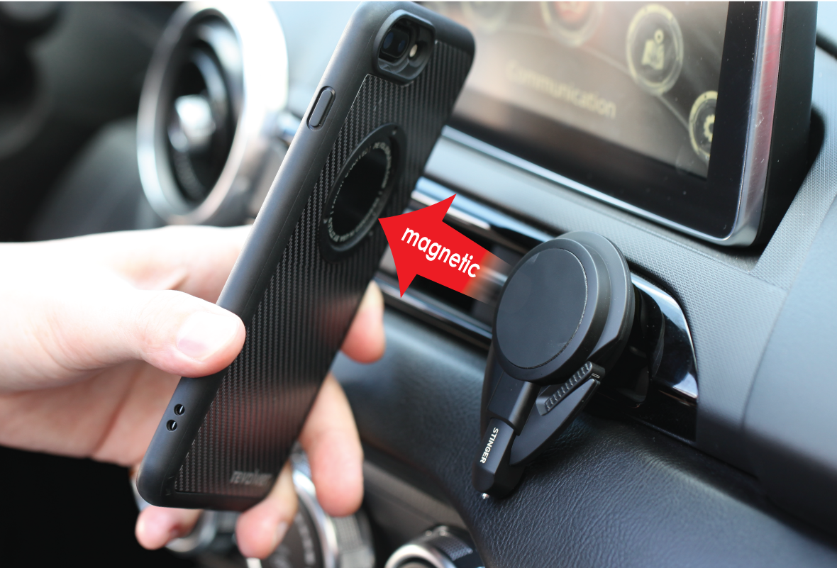 Stinger Vehicle Emergency Escape Tool: Magnetic Car Air Vent Mount Phone Holder, Spring Loaded Window Breaker Punch, Razor Sharp Seat belt Cutter
