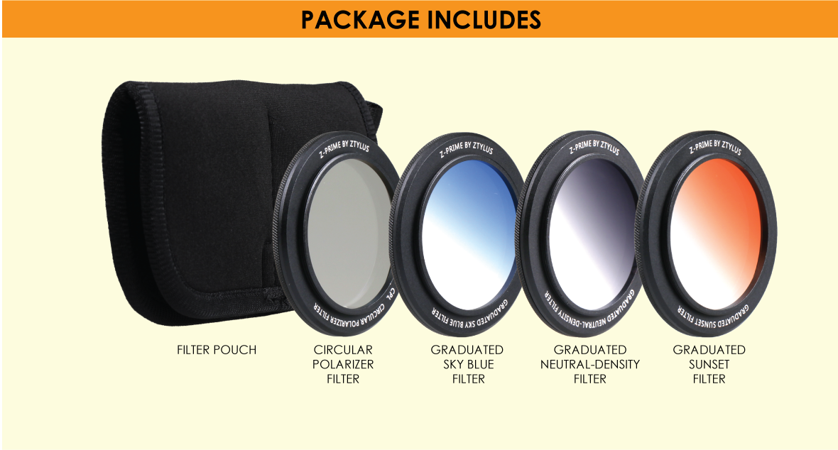 Ztylus Z-prime 4 in 1 filter for Z-prime Universal Wide Angle and Telephoto Lens only